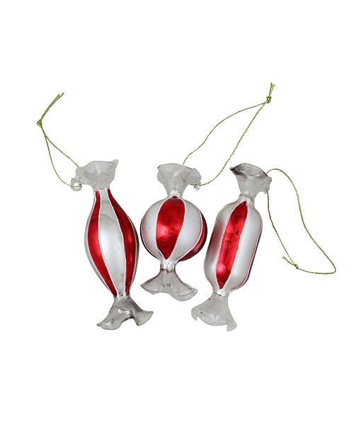 Northlight 3ct Striped Red and White Candy Shaped Glass Christmas Ornament Set