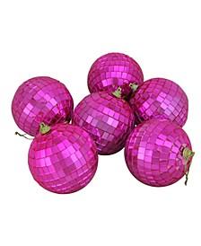 "6ct Bubblegum Pink Mirrored Glass Disco Ball Christmas Ornaments 3.25"" 80mm"