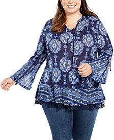 Plus Size Bell-Sleeve Top, Created For Macy's