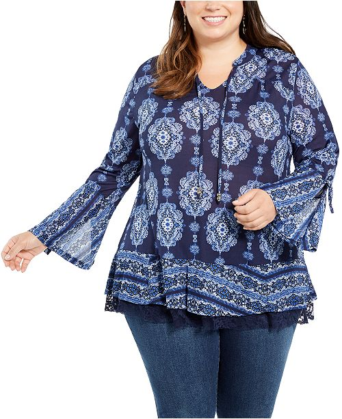 Style & Co Plus Size Bell-Sleeve Top, Created For Macy's