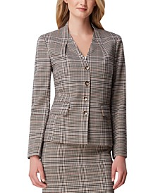 Foldover-Neck Plaid Jacket