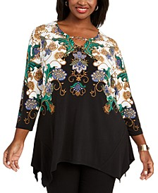 Plus Size Printed Handkerchief-Hem Top, Created For Macy's