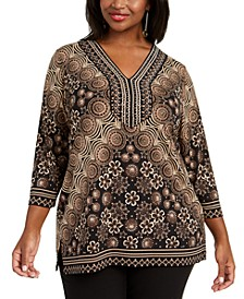 Plus Size Rhinestone Embellished Printed Top, Created For Macy's