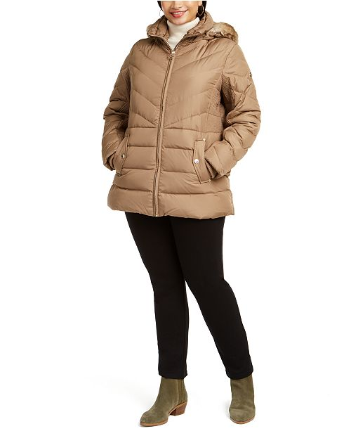 Michael Kors Plus Size Faux-Fur-Trim Hooded Puffer Coat, Created for Macy's
