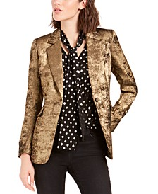 Metallic One-Button Blazer, Created For Macy's