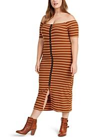 Trendy Plus Size Juniors' Off-The-Shoulder Dress