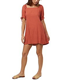 Juniors' Kirsten Tie-Sleeve Fit & Flare Dress