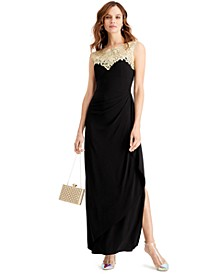 Illusion-Neck Gown