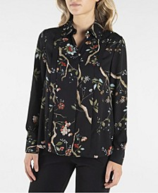 Nanette Lepore Printed Long Sleeve Stand Collar Button Down with Pleats