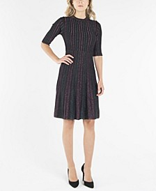 Crew Neck Fit and Flare Knit Dress