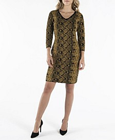 Nanette Lepore V-Neck 3/4 Sleeve Shift Sweater Dress