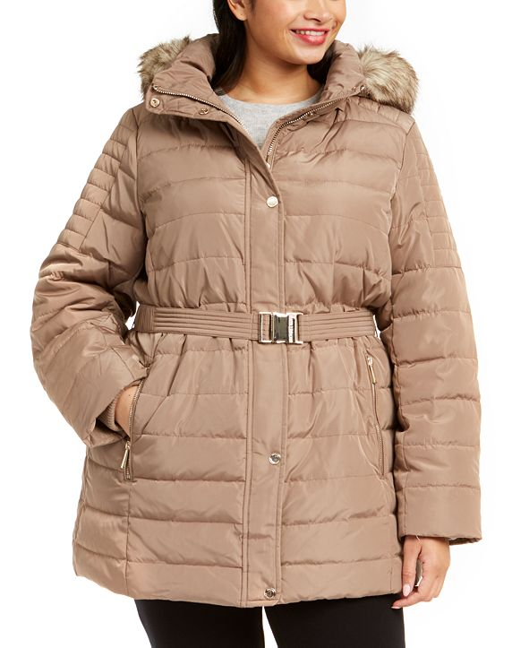 Michael Kors Plus Size Hooded Belted Puffer Coat With Faux ...