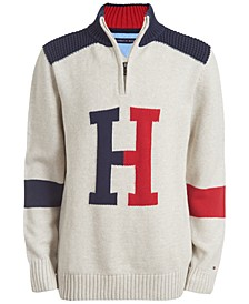 Big Boys Keith Colorblocked 1/4-Zip Logo Sweater