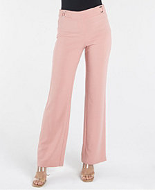 nanette Nanette Lepore Fly Front Wide Leg Trouser with O-Ring Details