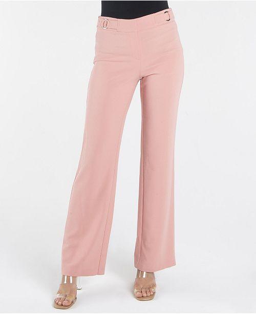 nanette Nanette Lepore Fly Front Wide Leg Trouser with O-Ring Details