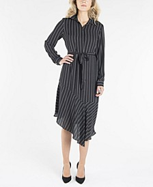 Long Sleeve Dress with Collar and Asymmetrical Hemline