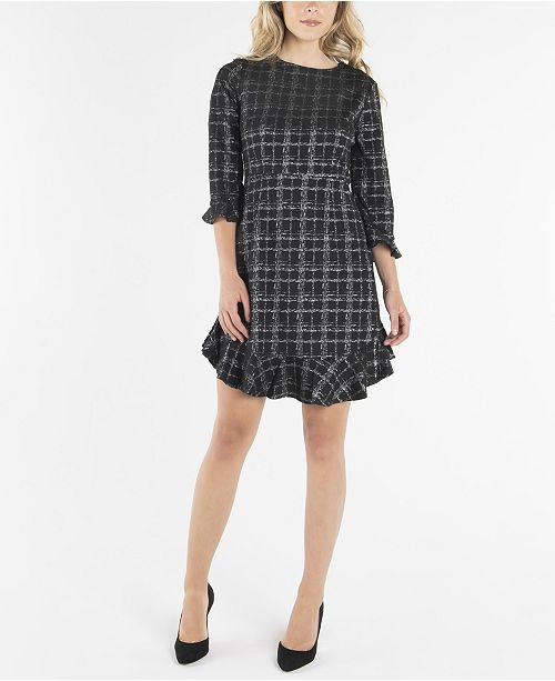 nanette Nanette Lepore Nanette Lepore 3/4 Sleeve Fit and Flare with Flounce at Sleeves and Hem