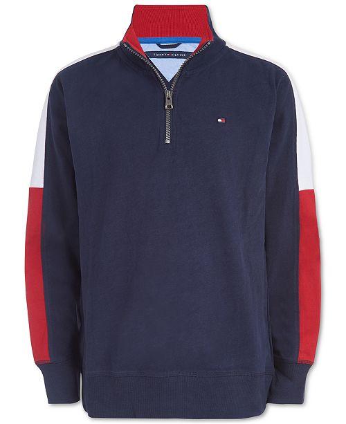 Tommy Hilfiger Big Boys Zack Colorblocked 1/4-Zip Logo Lightweight Sweatshirt