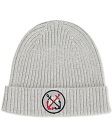 Men's Blue Sail Logo Patch Beanie, Created for Macy's