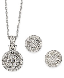 2-Pc. Set Diamond Halo Round Cluster Pendant Necklace & Matching Stud Earrings (1 ct. t.w.) in 10k White Gold (Also in Heart & Square)