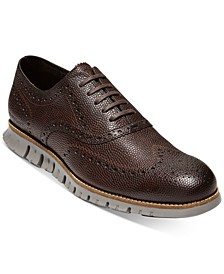 Men's ZERØGRAND Pebbled Leather Wingtip Oxfords