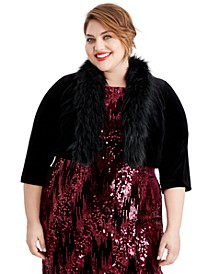 Plus Size Velvet Faux-Fur-Trim Shrug