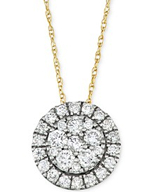 "Diamond Halo Cluster 18"" Pendant Necklace (5/8 ct. t.w.) in 14k Gold & White Gold"