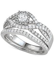 Diamond Multi-Row Bridal Set (1-1/7 ct. t.w.) in 14k White Gold