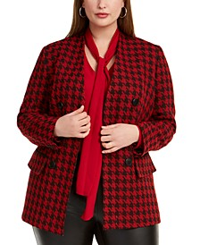 Trendy Plus Houndstooth Double-Breasted Blazer, Created For Macy's