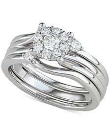 Diamond Halo Enhancer Bridal Set (1/2 ct. t.w.) in 14k White Gold