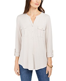 Split-Neck Roll-Tab-Sleeve Top, Created for Macy's