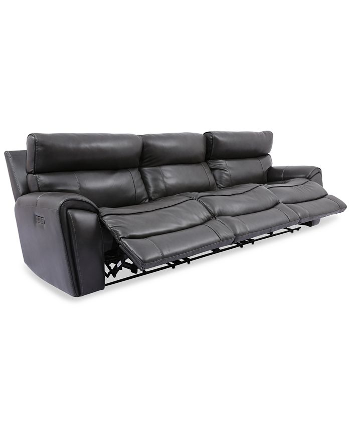 Furniture - Hutchenson 3-Pc. Leather Sectional with 3 Power Recliners and Power Headrests
