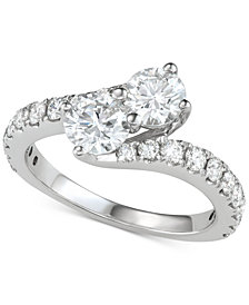 Diamond Two-Stone Bypass Engagement Ring (2 ct. t.w.) in 14k White Gold