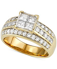 Diamond Princess Channel-Set Engagement Ring (1-1/2 ct. t.w.) in 14k Gold