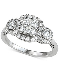 Diamond Princess Halo Engagement Ring (1-1/5 ct. t.w.) in 14k White Gold