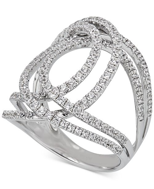 Macy's Diamond Abstract Openwork Statement Ring (1-1/6 ct. t.w.) in 14k White Gold