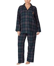Plus Size Cotton Plaid Pajama Set