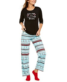 Fair Isle Knit Top & Pants Pajamas Set