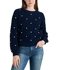 Embroidered Heart Ribbed Sweater
