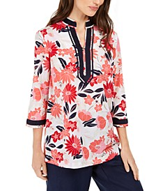 Contrast-Trim Printed Linen-Blend Top, Created for Macy's
