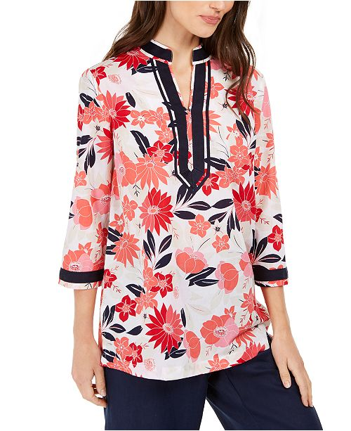 Charter Club Contrast-Trim Printed Linen-Blend Top, Created For Macy's