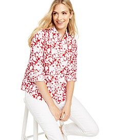 Petite Floral-Print Button-Front Shirt, Created For Macy's