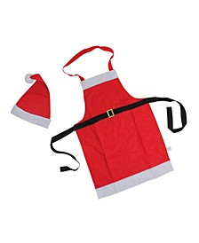 2-Piece Red and White Santa Claus Christmas Apron and Hat Set - Adult Size