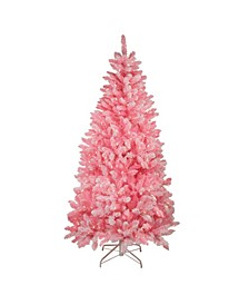 7' Pink Pre-Lit Flocked Artificial Christmas Tree - Clear Lights