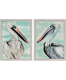 """Turquoise Pelican Framed Wall Art Set of 2, 26"""" x 20"""""""