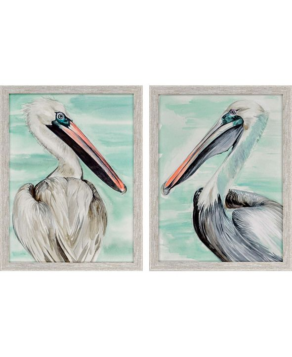 """Paragon Turquoise Pelican Framed Wall Art Set of 2, 26"""" x 20"""""""