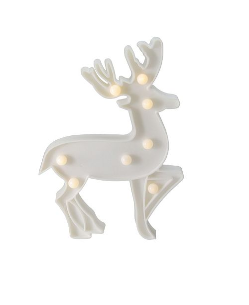 """Northlight 9.75"""" Battery Operated LED Lighted White Reindeer Christmas Marquee Sign"""