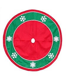 Christmas Tree Skirt with Snowflakes and Candy Cane Trim Green Border