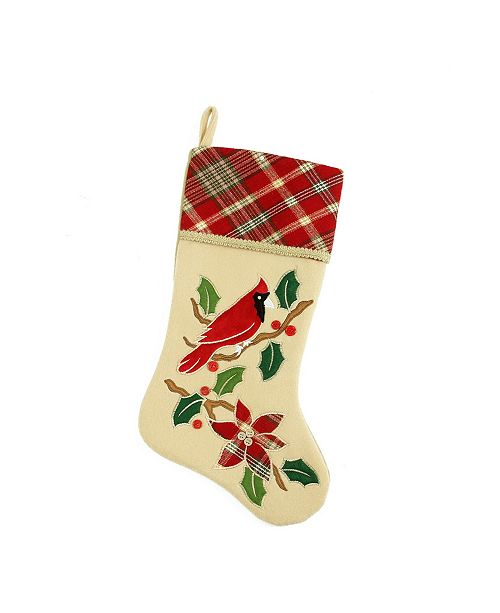 Northlight Country Cabin Embroidered Cardinal Bird Christmas Stocking with Plaid Cuff