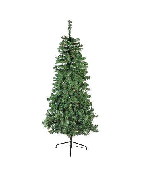 Northlight 6' Pre-Lit Alberta Pine Slim Artificial Christmas Tree - Multi Lights